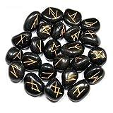 Conjunto negro natural de la runa de la obsidiana Reiki que cura la bolsa de terciopelo de la piedra preciosa del Tumble 25 PC