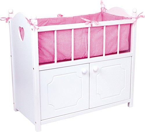 small foot 2875 Puppenbett mit Schrank aus Holz, Puppenbett aus weißem Holz mit rosa Bettumrandung, ab 3 Jahren