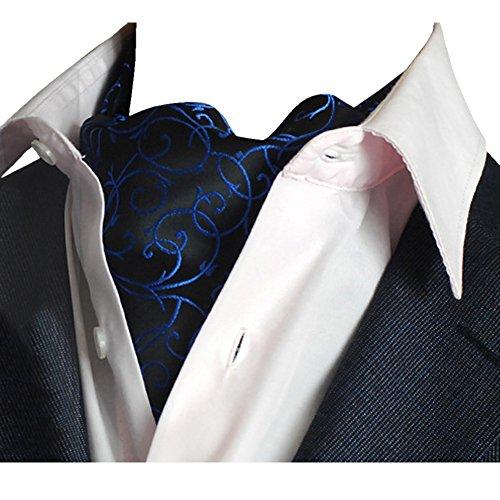 YCHENG Herren Krawattenschal Elegant Blumenkleid Ascot Seidenschal Paisley Jacquard Anzug Zubehör Blau 100-135cm