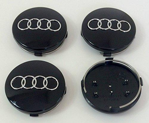 Satz von vier ABS Felgen - Mittel Radkappe Schwarz Abdeckplatte 60 mm 4B0 601 170 für Audi A3 A4 A5 A6 A7 A8 S4 S5 S6 S8 RS4 Q3 Q5 Q7 TT A4L A6L S Linie Quattro und andere Modelle 4b0601170 ...