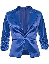 702fb15ce18cd1 Sambosa Eleganter Damenblazer Blazer Baumwolle Jäckchen Business Freizeit  Party Jacke in 26 Farben 34 36 38