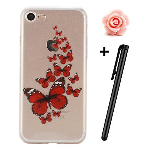 Custodia iPhone SE; Custodia iPhone 5S TPU; Cover in Silicone per iPhone 5/5S Flessibile, Trasparente e ultra sottile, astuccio cover protettivo TOYM per ragazza, presente in modelli diversi colorati  Red Butterfly