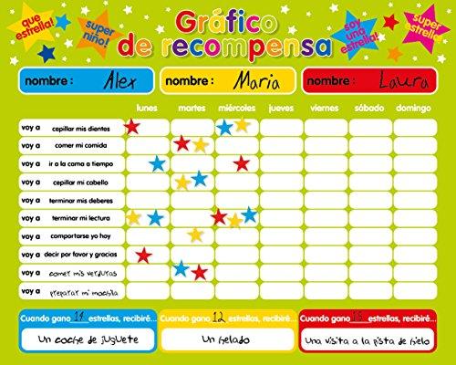 Recompensa magnética / Star / Responsabilidad Gráfico / Comportamiento durante un máximo de 3 niños. Tablero rígido de 16 'x 13' (40 x 32cm) con gancho para colgar