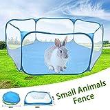 Käfigzelt für Kleintiere - Atmungsaktives und transparentes Laufgitter für Haustiere Offener, tragbarer, faltbarer Gartenzaun, ideal für Meerschweinchen-Kaninchen-Häschen-Hamster-Chinchilla-Igel