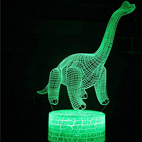 Wangshengchao Dinosaurier White Base Lovely 7 Farbwechsel 3D Lampe Geschenk Dinosaurier USB Led Light 3D Led Night Light,F1,Remote Touch-Schalter