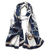 Seidenschals Damen 100% Seiden Satin Schal Elegante Seidentuch Hohe Qualität Hautfreundlich Anti-Allergie Halstuch Tuch 170 * 55cm (Blau und Weiß)