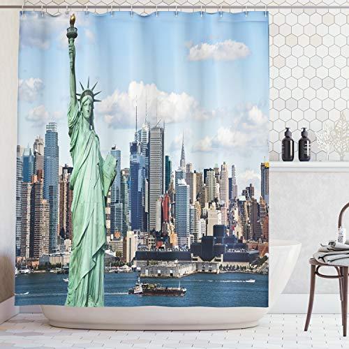 ABAKUHAUS Duschvorhang, Berühmte Freiheitsstatur Statue of Liberty New York Big Apple Stadt Metropole Schiffe Druck, Wasser und Blickdicht aus Stoff mit 12 Ringen Bakterie Resistent, 175 X 200 cm