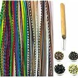 """Sexy Sparkles nuevo 21PC Kit """"natural Mix 7"""" -11Extensiones de Pelo de plumas de """"10auténtica, largos Single plumas + Micro cuentas 1gancho herramienta"""