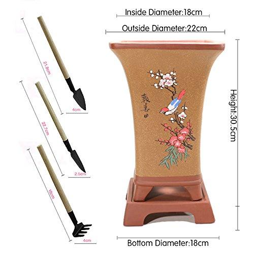 Nclon Printemps Argile Pourpre Pot De Fleur, Classique Style Chinois Tray Point Couleur Pot De Fleur Avec Jardinage Outils Trois Pièces