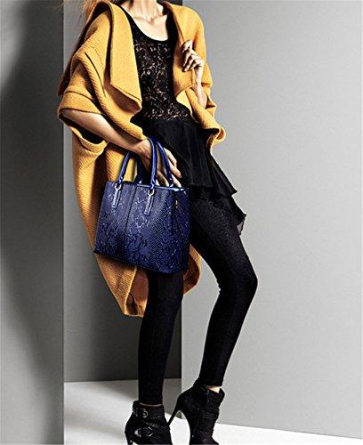 Xinmaoyuan Borse donna serpentina Lady Borsetta tracolla goffrato borsa Messenger Madre Middle-Aged Bag,Nero Blue