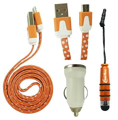Emartbuy® Polka Dots Range Trio Pack für Alcatel X1/Alcatel OneTouch Flint/Alcatel Flash Plus 2 - Weiß USB Car Ladekabel + Orange Eingabestift + Polka Dots Orange/Weiß Micro USB Kabel X1 Trio