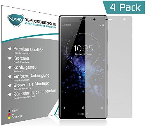 Slabo 4 x Displayschutzfolie für Sony Xperia XZ2 Displayfolie Schutzfolie Folie Zubehör (verkleinerte Folien, aufgrund der Wölbung des Displays) No Reflexion MATT - entspiegelnd Made IN Germany