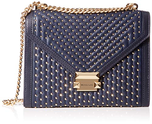 Michael Kors Damen Whitney Large Studded Leather Conv Shoulder Bag Schultertasche, Blau (Admiral), 7.6x17.8x23.5 cm