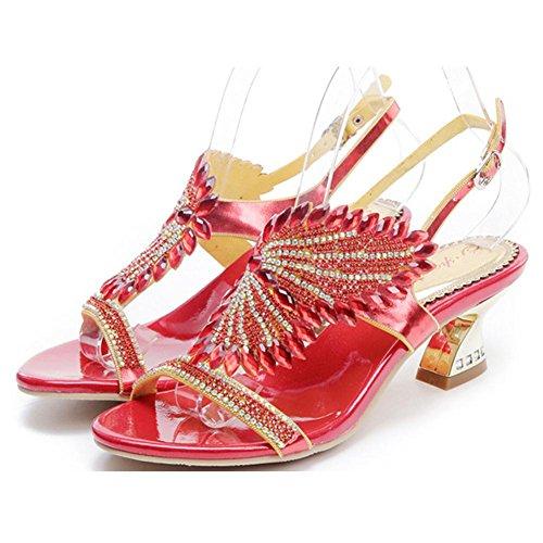 donne sandali diamante di cristallo larghezza tacchi alti fatto a mano pelle discoteca sera banchetto partito pompe scarpe pantofole . red . 44