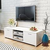 vidaXL Hochglanz TV-Schrank Fernsehtisch Lowboard Sideboard Weiß 140x40,3x34,7cm - 2