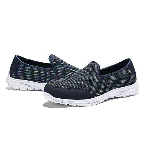 YIRUIYA Damen Aquaschuhe Breathable Slip-on-Sneaker Lässig Walking Schuhe Wasser Schuhe Blau