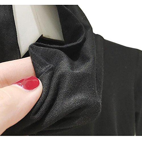 Hzjundasi Femmes Manches Longues Col Haut Hauts Chemises Slim Fit Casual Pull Sweat Gris