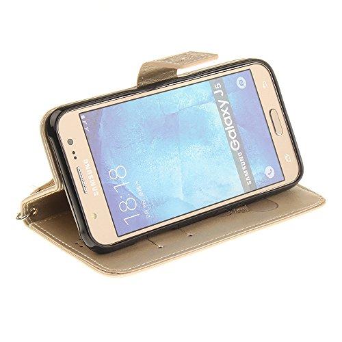 Coque iPhone 6,Coque iPhone 6s,portefeuille cas pu étui en cuir et la prime du titulaire de la carte Marron Or