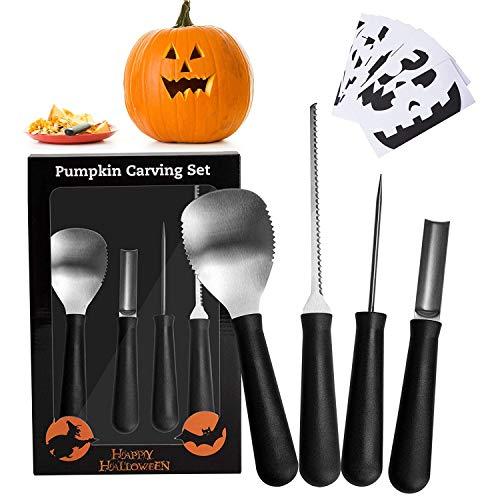 AOGETYO Kürbis-Schnitzset, Dekorations-Schnitz-Set für Halloween Kürbis Schnitzwerkzeuge für DIY Kürbis Laterne Dekoration mit 10 Papier zum Schnitzen und 4 Werkzeuge Edelstahl Pumpkin Tools