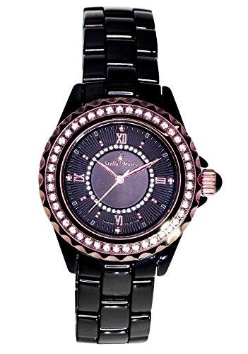 Stella Maris STM15E4 - Montre Femme Cadran noir Quartz Analogique Bracelet Céramique Noir avec diamants et éléments Swarovski