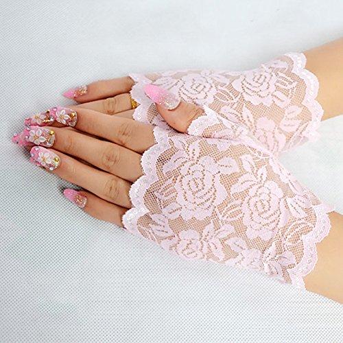 smartrich Spitze Fingerlose Handschuhe elegant sexy für Nacht Party Hochzeit rosa rose 13.5*8.5cm