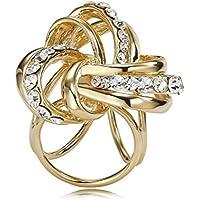 Clip Sciarpa Anello placcato oro Nodo d'Amore diapositive pavé di diamanti Chiusura Jewelry Cubic Zirconia per le donne