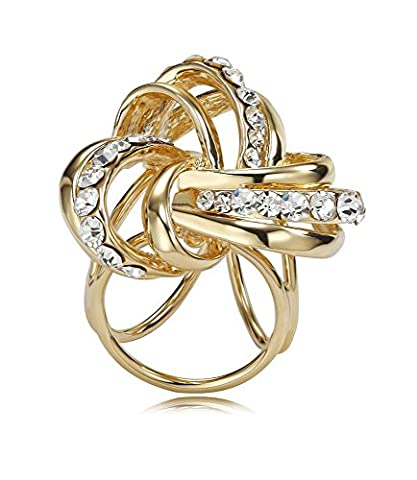 Scarf Ring Gold Plated Love Knot Clips Slides Clasp Swarovski elements crystal Jewelry For Women