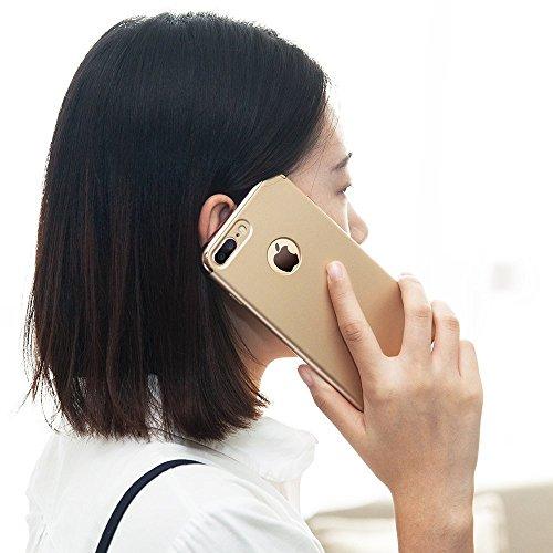 iPhone 7 Plus Hülle, TORRAS Ultra Dünn Slim Anti-Fingerprint 3in1 Luxus Abnehmbare Schutzhülle Hülle mit Premium Electroplate Frame Stoßfest Case Cover für Apple iPhone 7 Plus - Navy Blau Gold