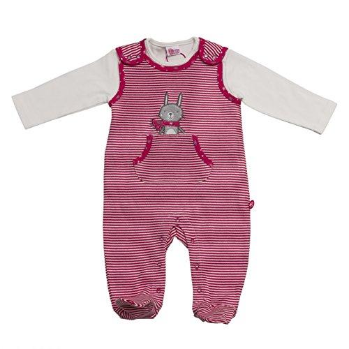 Eltern by Salt & Pepper Baby-Mädchen Strampler E Playsuit Bunny Stripes, Rosa (Magenta 880), 50