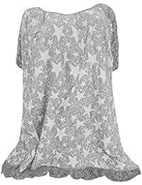 Momoxi Tops para Mujer, Tallas Grandes O-Cuello de la impresión del Remiendo del