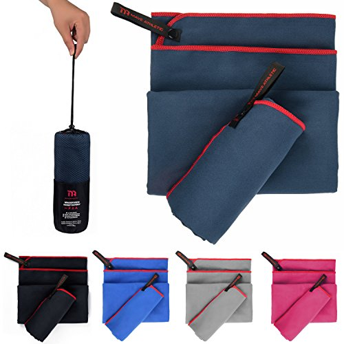 MAVE ATHLETIC Premium Mikrofaser Handtücher im 2er-Pack mit Tragetasche [140cm x 70cm & 70cm x 40cm] (Marineblau)