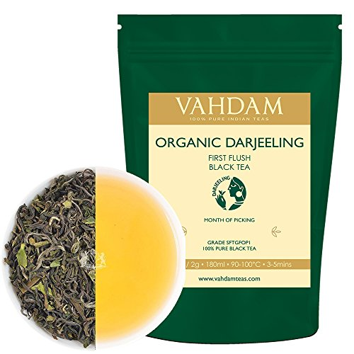 NO.1 COFFEE & TEA PRODUCTS 2017 FIRST FLUSH ORGANIC DARJEELING TEA – MAKES 50 CUPS, LOOSE LEAF BLACK TEA – FLOWERY, AROMATIC & DELICIOUS, PICKED, PACKED & SHIPPED DIRECT FROM INDIA, 100G BEST BUY REVIEWS UK