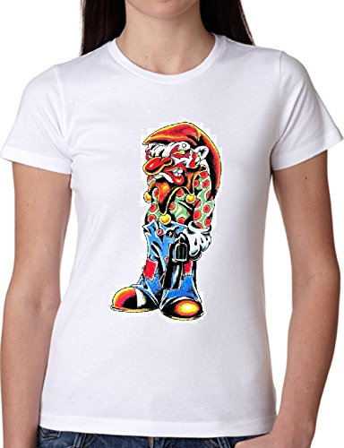 T SHIRT JODE GIRL GGG22 Z1813 PSYCHEDELIC CLOWN HORROR SCARY CARTOON FASHION COOL BIANCA - WHITE (Girl Clowns Scary)