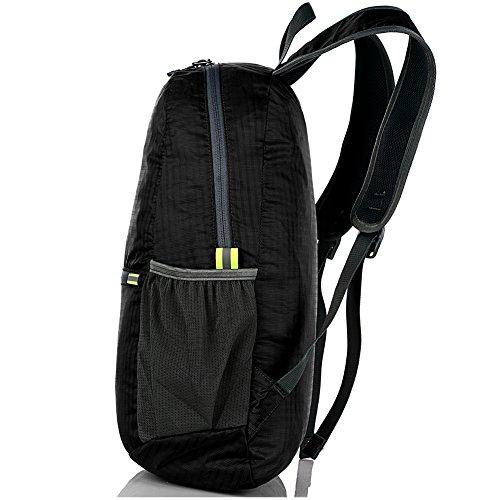 Ultra Leicht verstaubarer Rucksack Wandern Daypack + Die meisten strapazierfähig, leicht Rucksäcke für Männer und Frauen/Die besten Faltbare Camping Outdoor Reisen Radfahren Schule Air Reisen Carry On schwarz