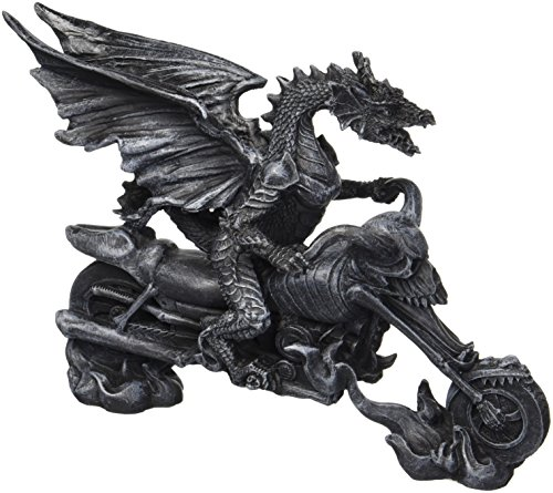 Design Toscano Biker-Drache auf Skelett-Chopper, Figur (Chopper Skelett)