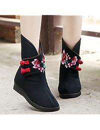 &HZOU Otoño/invierno/bordado/calzado/Moda / / arranque/botas/cargadores de las mujeres nacional viento/paño/tubo/bordado , black , 35