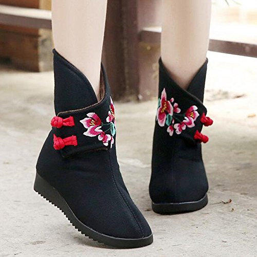 &qq Autunno/inverno/ricamo/scarpa/moda/donna/boot/stivali/stivali nazionale vento/panno/tubo/ricamo Black