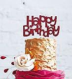 """LissieLou - Topper per torta di compleanno con scritta in lingua inglese: """"Happy Birthday"""", stile divertente Dark Pink"""