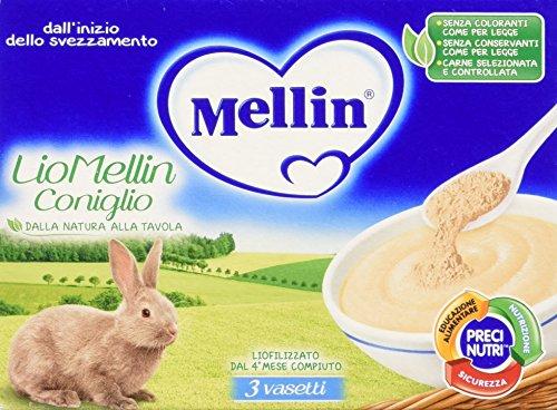 Mellin LioMellin Liofilizzati per Bambini, al Gusto Coniglio - 3 Vasetti da 10 gr - Totale 30 gr