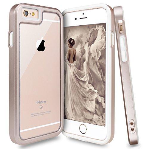 iPhone 6S Hülle, iPhone 6 Hülle, GrandEver Dual Layer Hybrid Rahmen mit Weiche TPU Silikon Bumper + Hart PC Zurück Kombination Transparent Schutzhülle Case Cover Scratch-Resistant Tasche für Apple iPh Luxus Gold