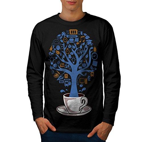 Baum Natur Tasse Leben Essen Herren L Langarm-T-Shirt | Wellcoda (Mais-braten)