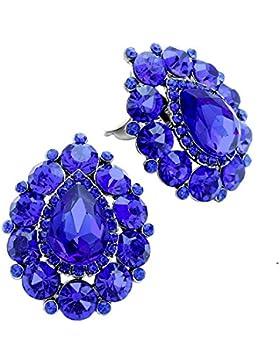 Schmuckanthony Luxus große Abendschmuck Ohrclips Klips Clips Clip Ohrringe Blau Königsblau Royal