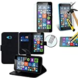 HCN PHONE Etui Hülle Cover + 1 Film gehärtetes Glas Serie Microsoft - Ptfsp-schwarz, Microsoft Lumia 640 LTE