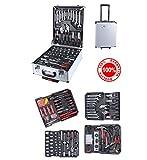 Halbmondform en-28853Garten Gerätehaus Arbeitsscheinwerfer komplett Trolley Professionelle Werkzeugtasche Chrome Vanadium, grau, Set von 187Teile