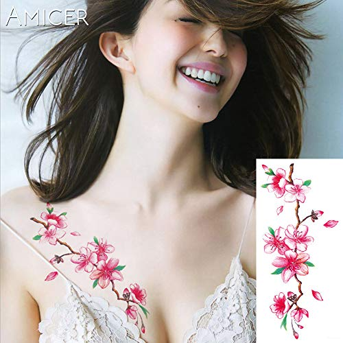 tzxdbh 4Pcs-3D realistas Flores de Cerezo Rosa Grandes Flores Tatuaje Impermeable Tatuajes temporales Mujeres Tatuaje Brazo Hombro Tatuaje Pegatinas 4 unids-