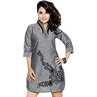 1545 Designs Da donna Plus Size grigio tunica 3/4 ° Top maniche Dress Casual