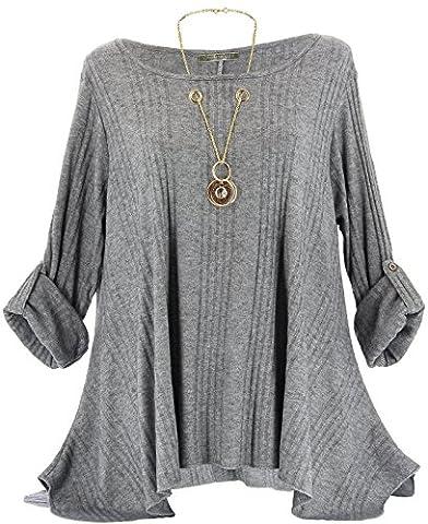Charleselie94® - Tunique bijou longue laine hiver grande taille GABRIELLE gris GRIS - 46