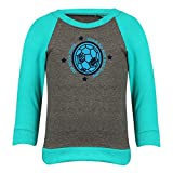 Clifton Baby Boys Raglan Printed Full Sleeve T-shirts -Charcoal Melange-Teal -Born To Win -24-30 Months