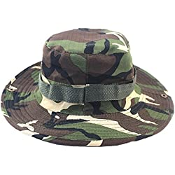 L-Peach Sombrero para Pesca Senderismo Caza Táctical Estilo Unisexo Anti-UV Boonie Hat Camuflaje Verde