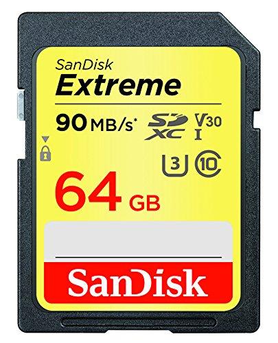 Carte Mémoire SDXC Sandisk Extreme 64Go jusqu'à 90Mo/s, Classe 10, U3, V30